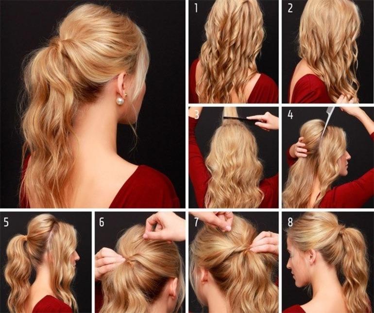 Красивый хвост на длинные волосы