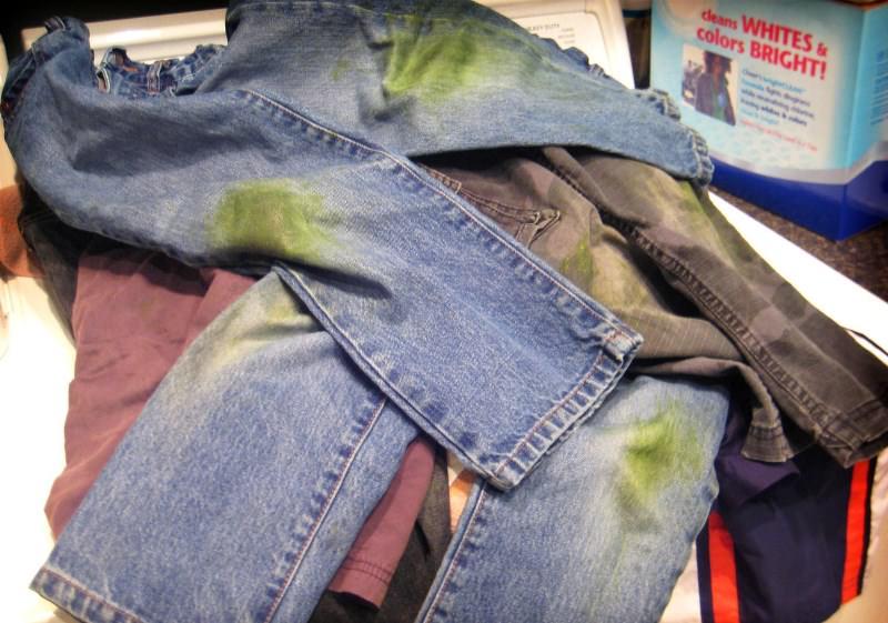 Чем вывести травяное пятно с джинсов фото