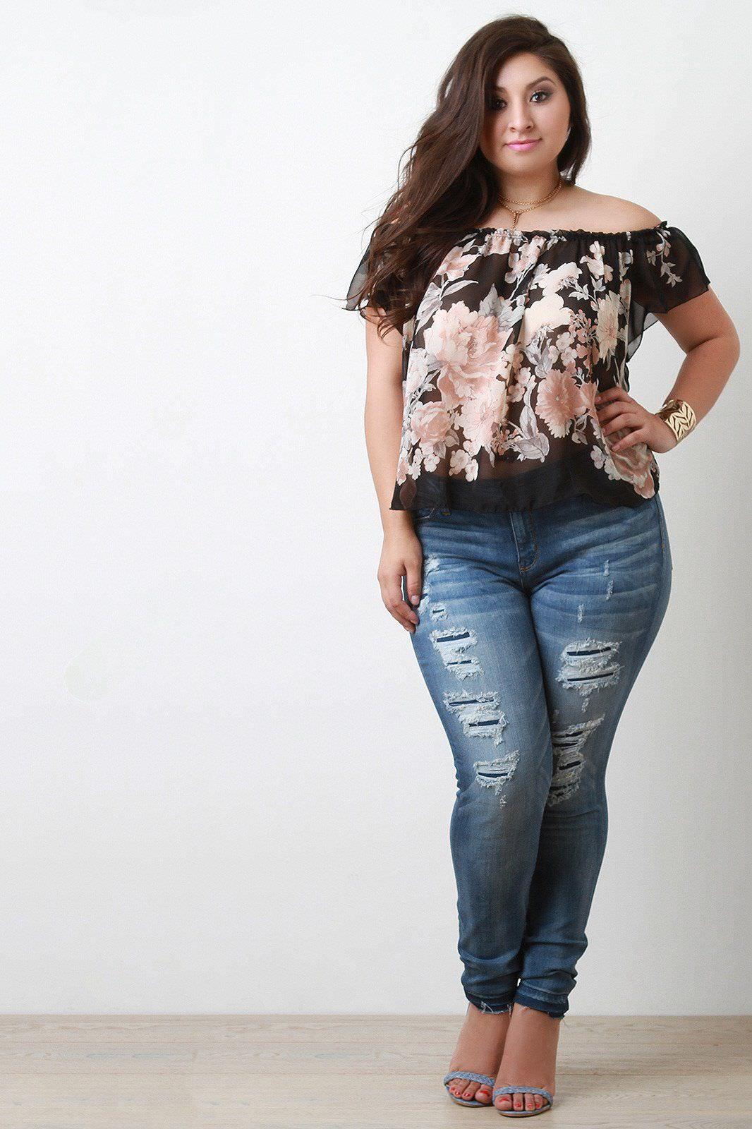 Обтягивающие джинсы для полных девушек