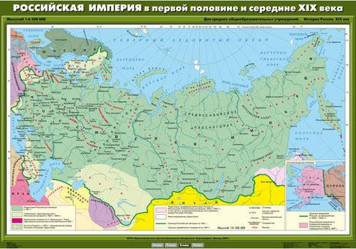 Карта: российская империя в первой половине 19 веке — история России