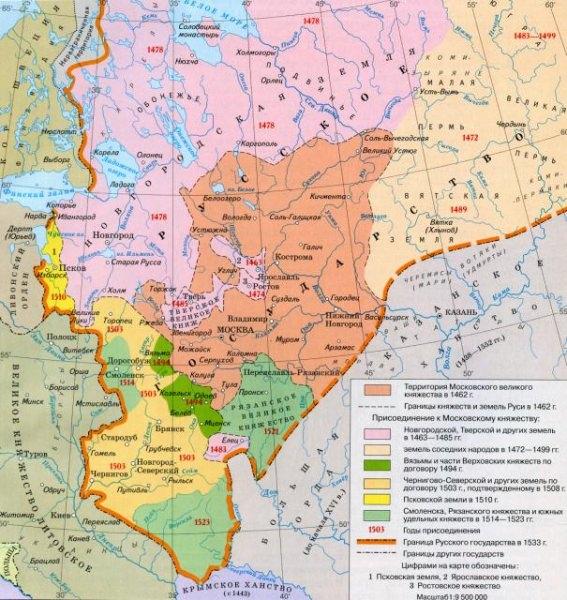 Карта: русское государство при иване iii и василии iii — история России